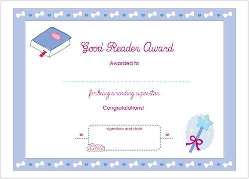 Good Reader Printable Award Certificate  Free Printables Good