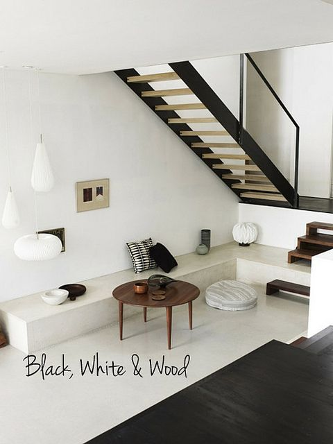 black, white & wood by the style files, via Flickr  건축물디자인(Inside ...