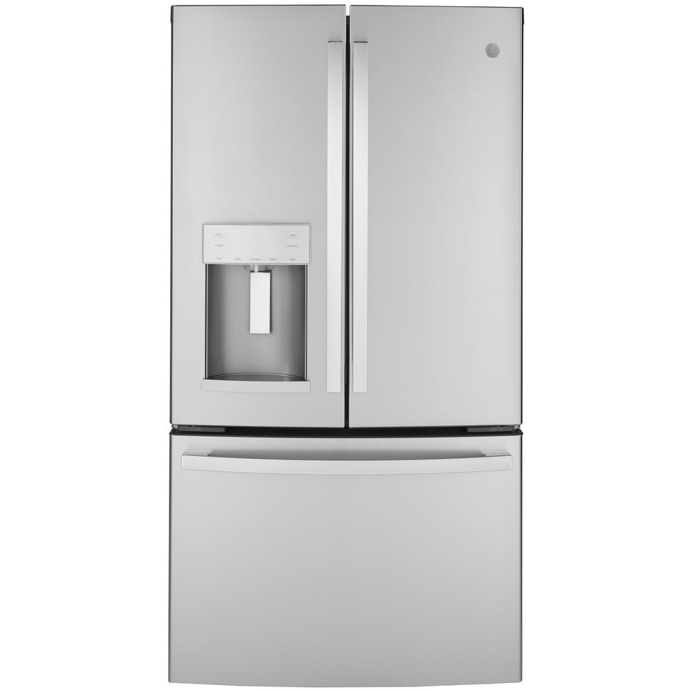 Ge 22 1 Cu Ft French Door Refrigerator In Fingerprint Resistant Stainless Steel Counter Depth And Energy Star Gye22gynfs The Home Depot In 2020 Counter Depth French Door Refrigerator French Door Refrigerator French Doors