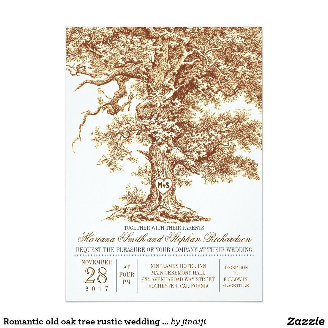 Romantic Old Oak Tree Rustic Wedding Invitation Oak Tree Romantic