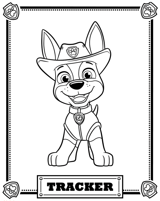 Two Trackers Paw Patrol Dogs Coloring Page