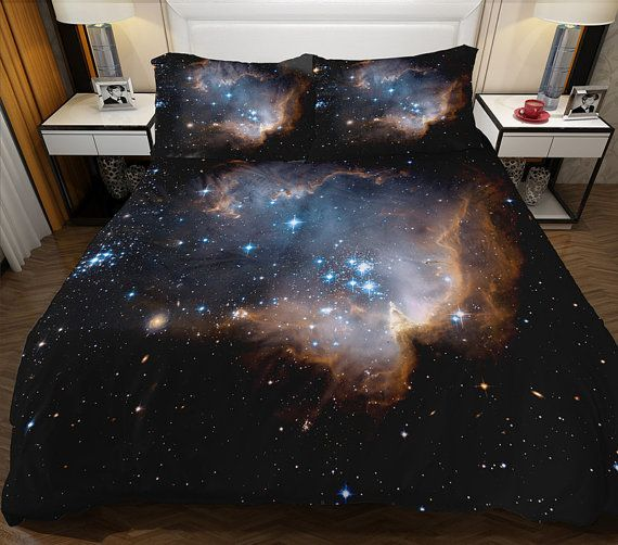 For Mary Black Galaxy Bedding Set Comes With One Duvet Cover One