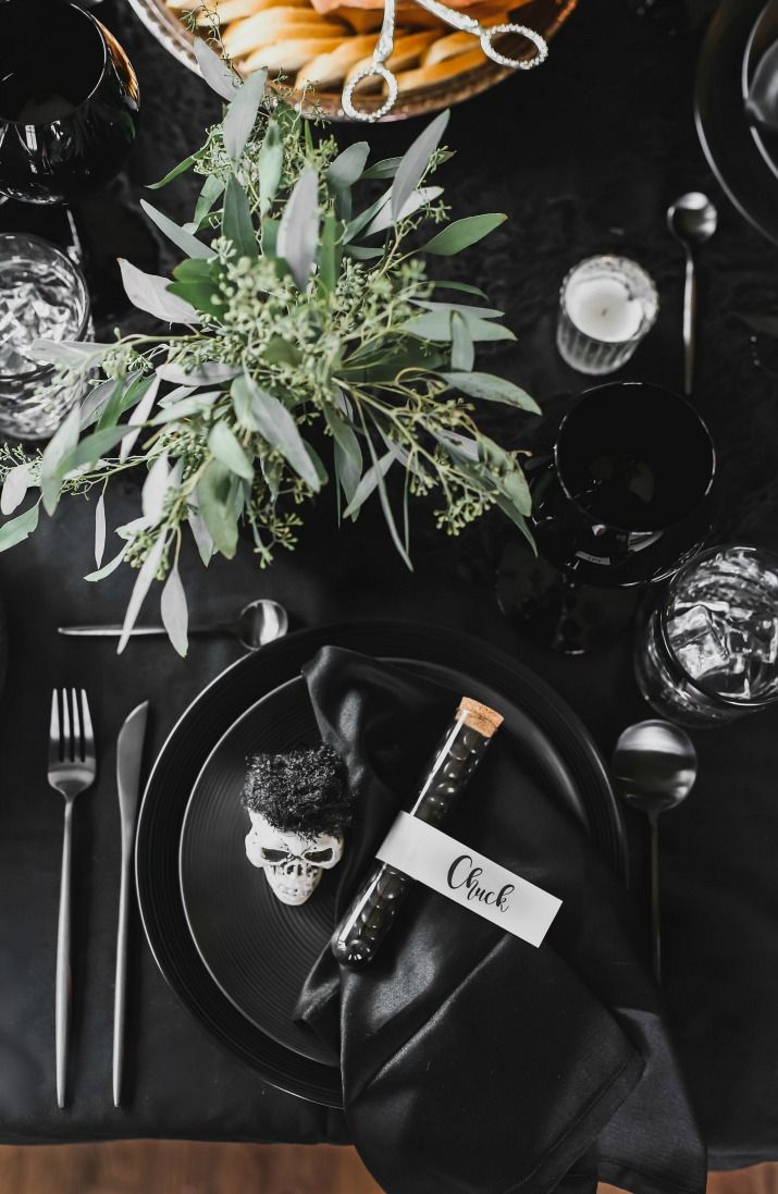 Chic Black Halloween Dinner Party & Table Setting Ideas (with photos)