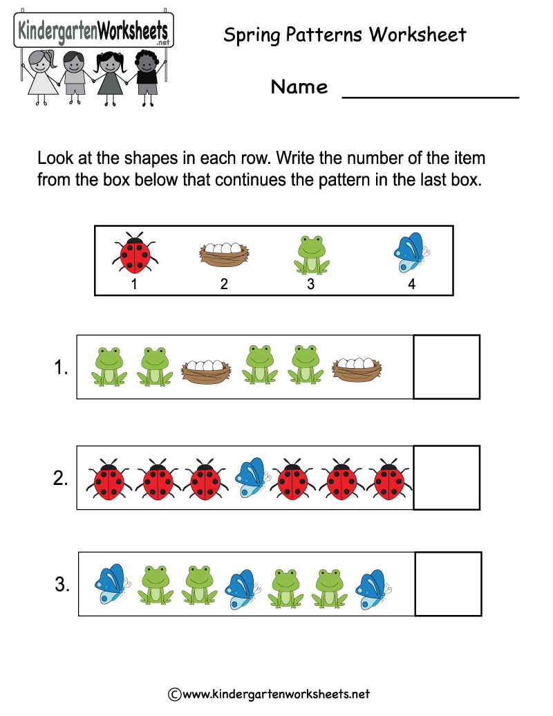Kindergarten Spring Patterns Worksheet Printable | Spring ...