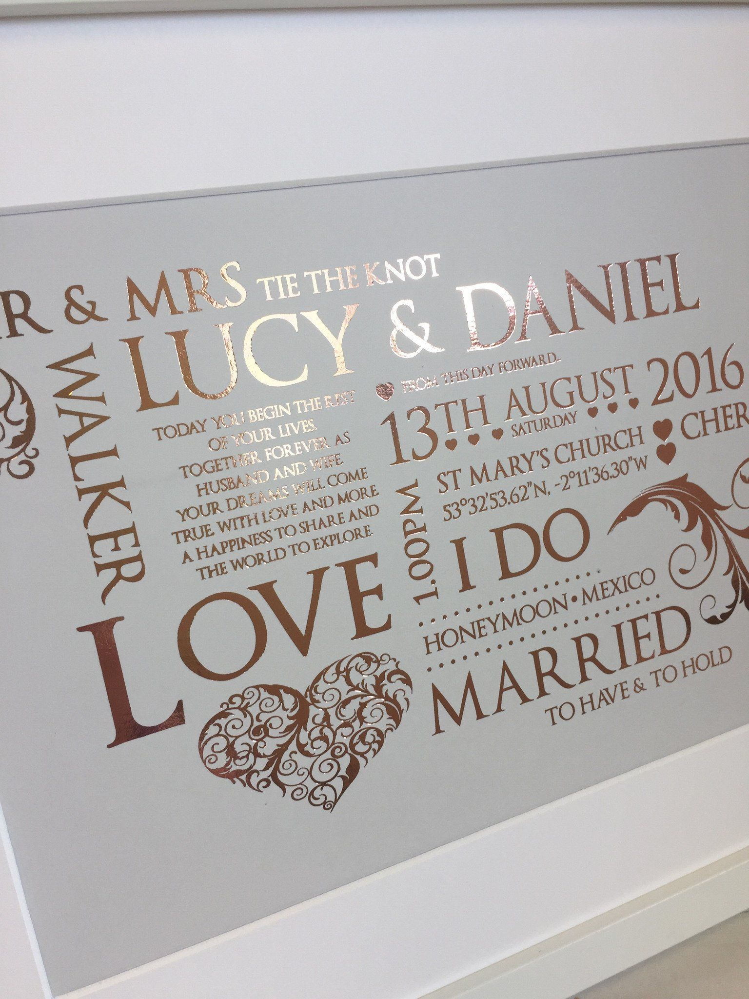 Our Beautiful Metallic Wedding Keepsake Design Personalised With All