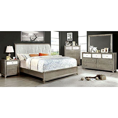 longmoore 5 piece button tufted e king bed 2 nightstand dresser