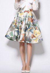 Vintage High Waist Floral Print Ball Gown Skirt For Women