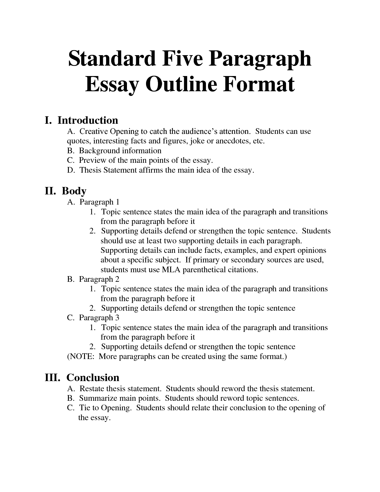 Outline format for writing papers