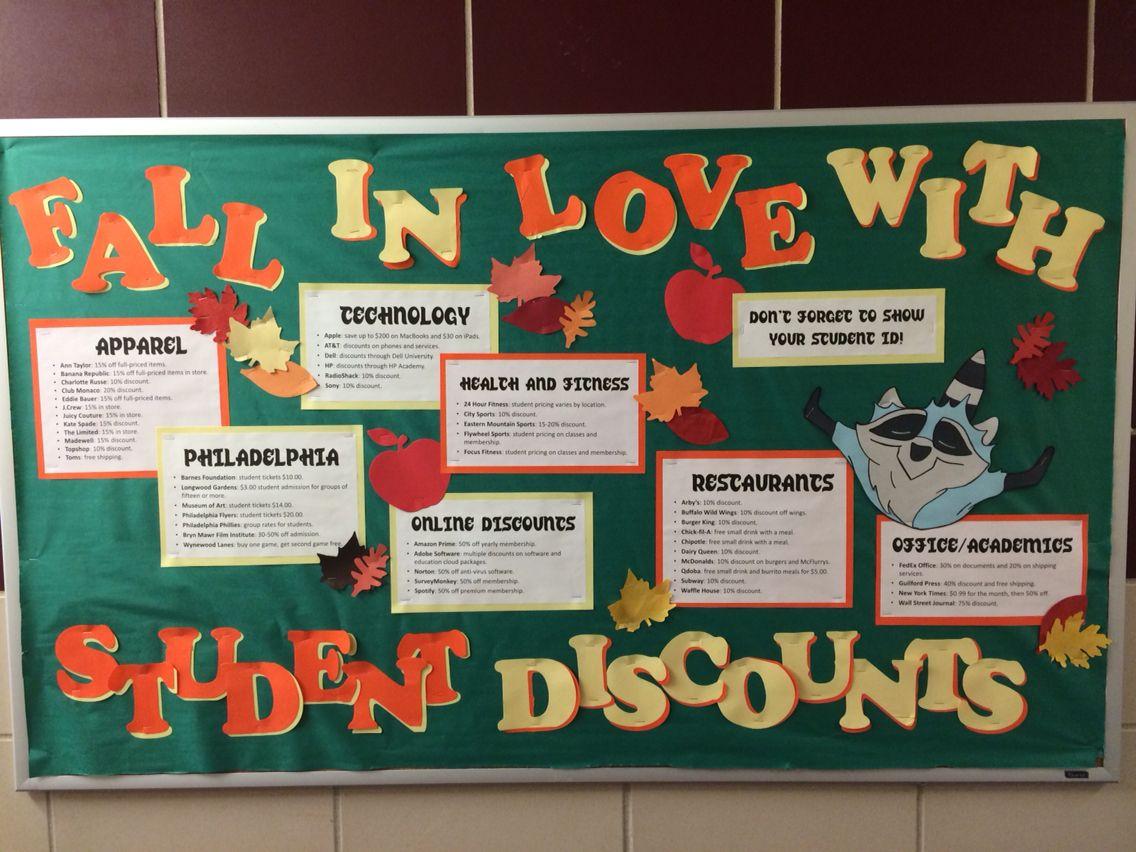 November Bulletin Board: student discounts. #novemberbulletinboards