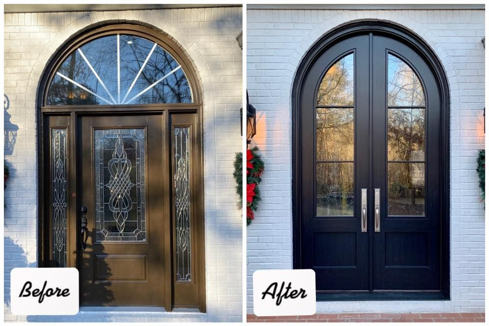 Before And After Front Entry Door Modern Contemporary Beautiful Custom Arched Door In 2020 Front Door Inspiration Double Front Entry Doors Front Entry Doors