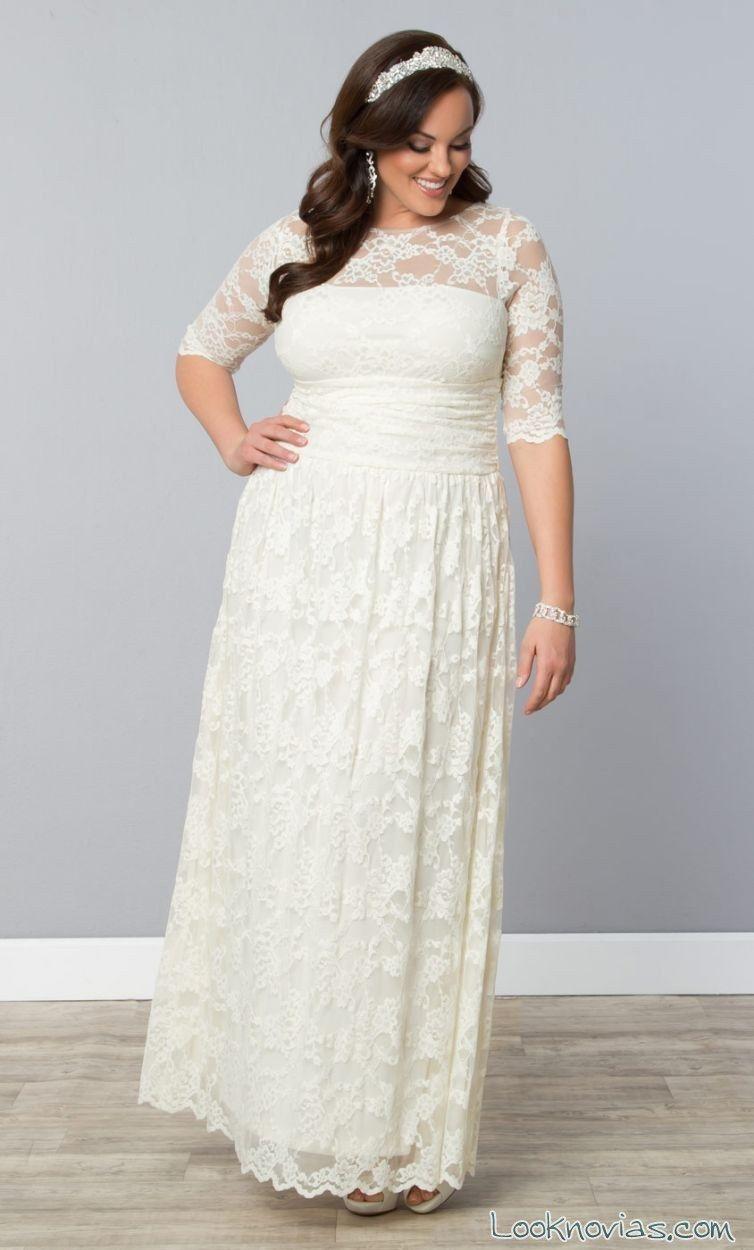 Vestidos de novia de manga larga para gorditas