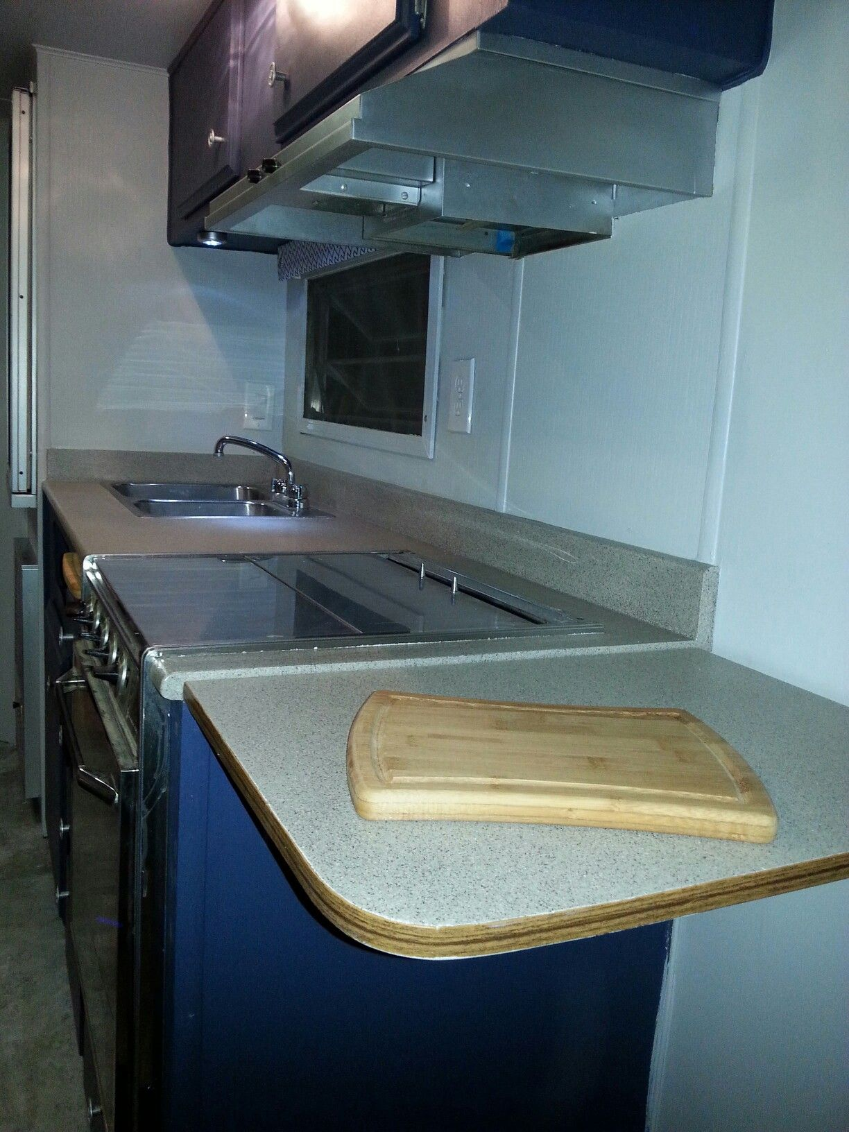 Renovated Interior Of A 1974 Terry Travel Trailer Flip Up Counter