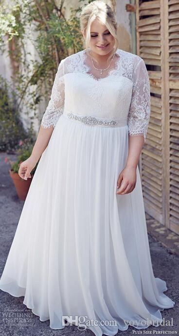 Vintage Lace Wedding Dress Plus size 3/4 Long Sleeves Illusion ...