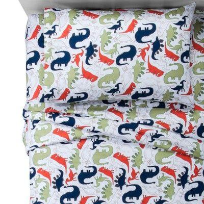 Dinosaurs Cotton Sheet Set Pillowfort Dinosaur Sheets Cotton Sheet Sets Dinosaur Bedding