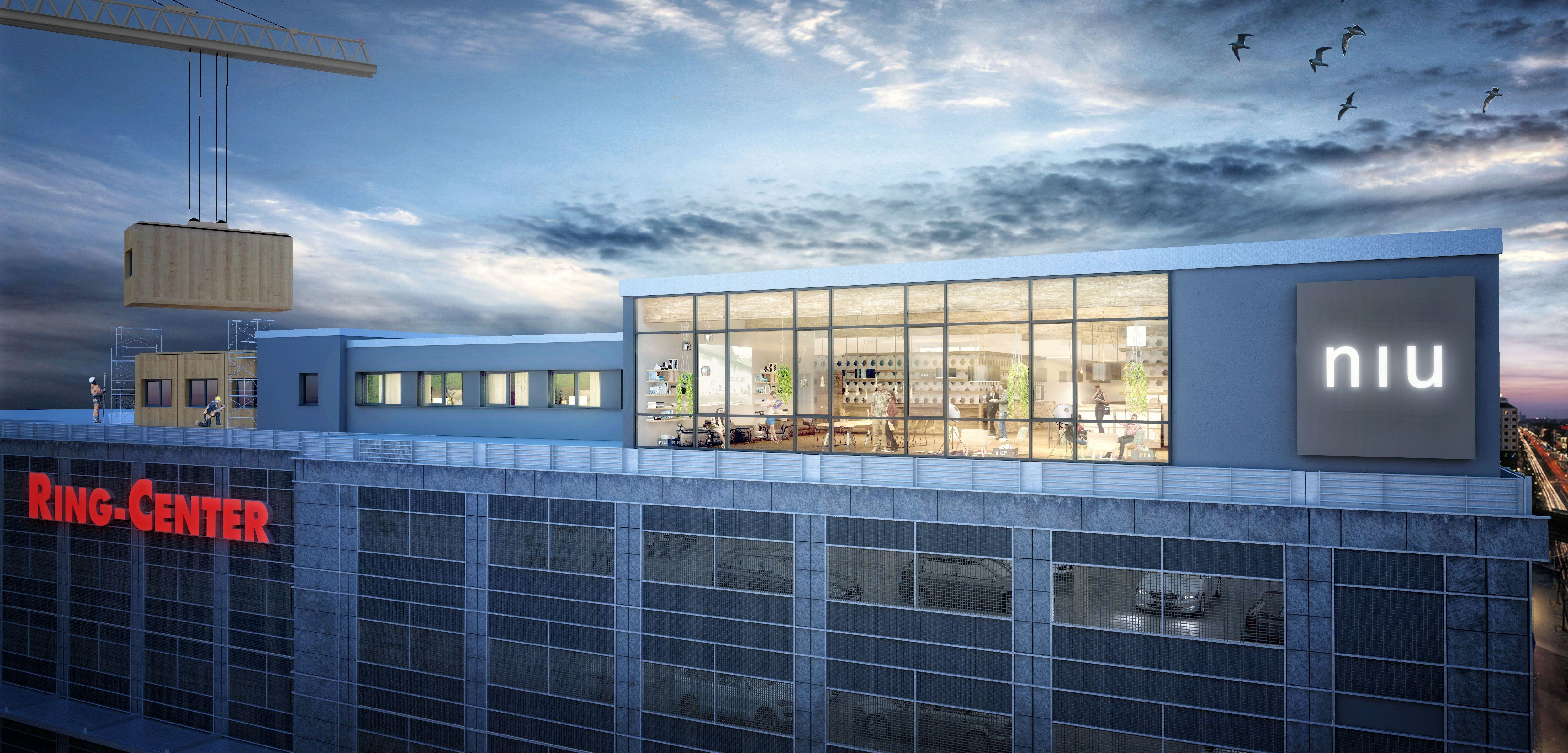 Visualisierung Berlin berlin hotel rooftop woodstrucutre modular render