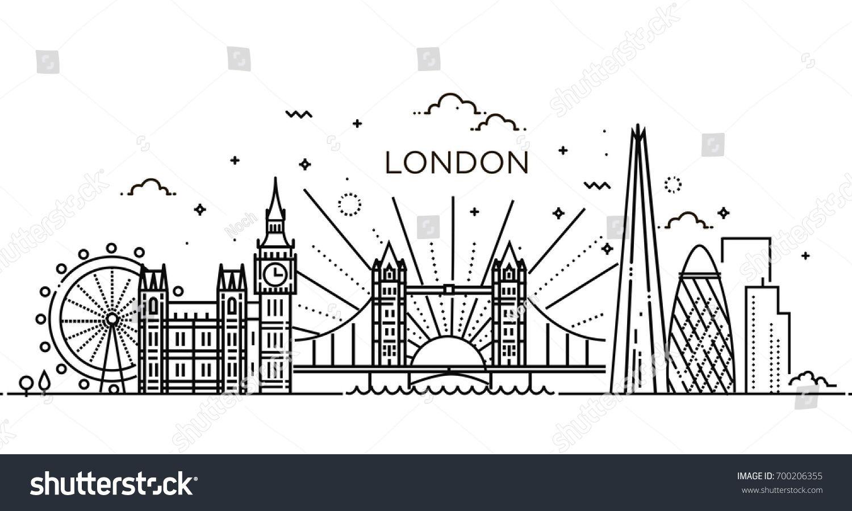 Minimal London City Linear Skyline Line Art Sponsored Affiliate City London Minimal Linear London Skyline Tattoo London Skyline Skyline Drawing