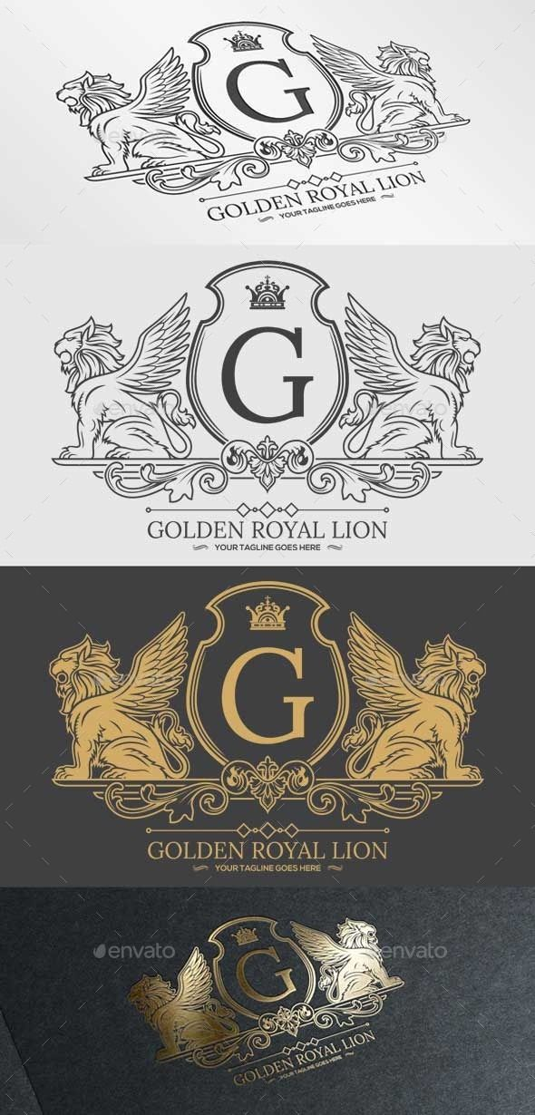 Golden Royal Lion Vol.1 — Vector EPS #club #website • Available here → https://graphicriver.net/item/golden-royal-lion-vol1/9864189?ref=pxcr
