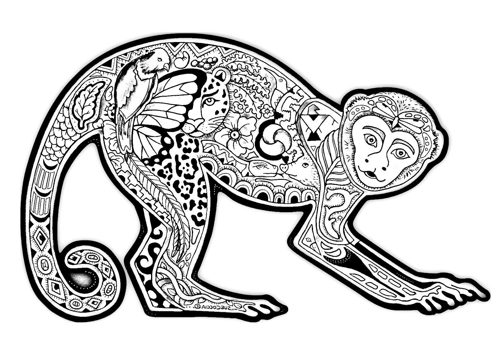 Free coloring page coloring-difficult-monkey. A coloring page with a ...