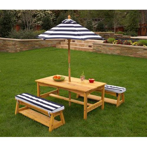 Outdoor Kids Wood Table And Bench Set W Navy Striped Cushions And Umbrella Playtime Picnic Kids Outdoor Table Outdoor Tables Outdoor Tables And Chairs