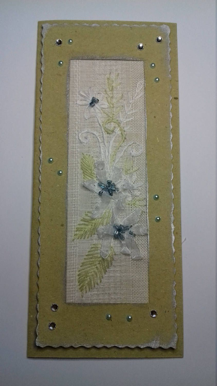 Embroidered Greeting Card Handmade Textile Card Ribbon Embroidery