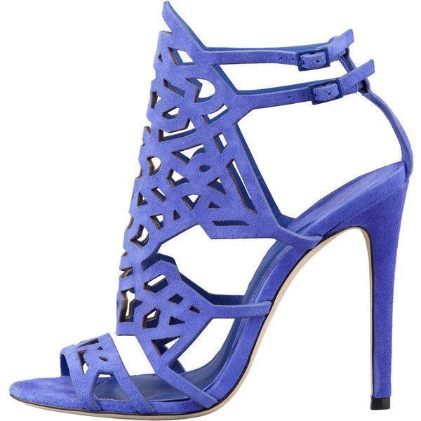 41d299a51e B Brian Atwood Cutout Suede Sandal, Purple ($425) ❤ liked on Polyvore  featuring shoes, sandals, heels, high heels, shoes., ankle strap shoes, ankle  strap ...