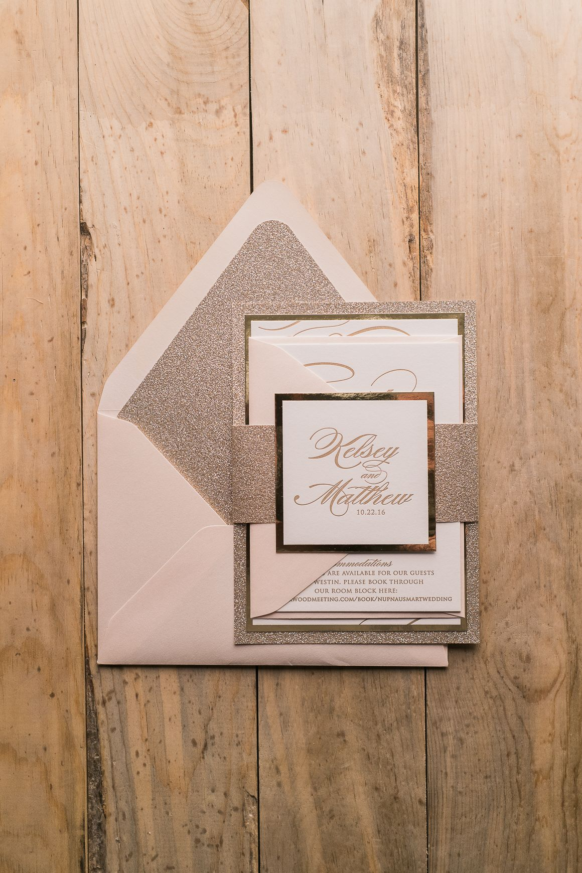 Letterpress Wedding Invitations Blush And Gold Blush And Gold