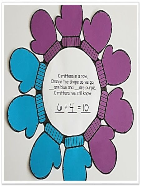 Winter Math Craft Mittens for sums of 5 and Sums of 10 | Learning ...