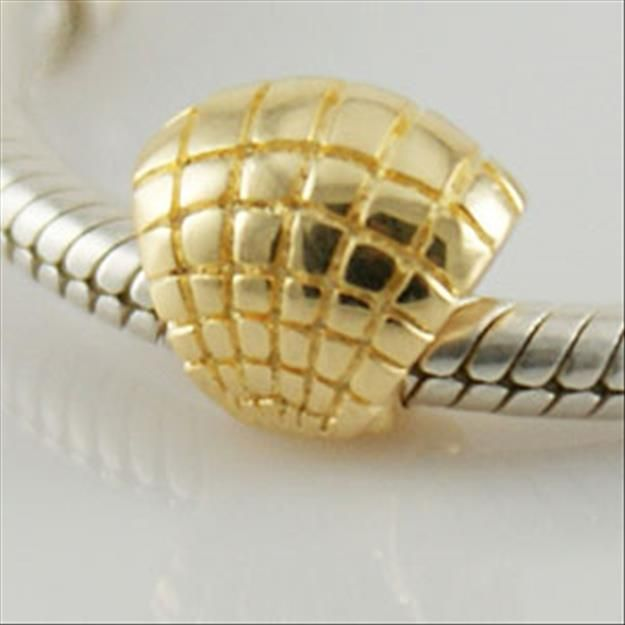 Golden Shell Authentic Sterling Silver Solid Core Charms