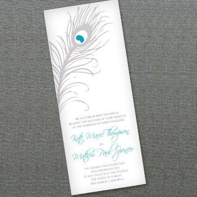 Peacock Feather Wedding Invitation Template