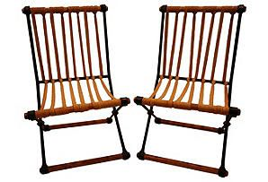 Rope & Wrought Iron Chairs, Pair