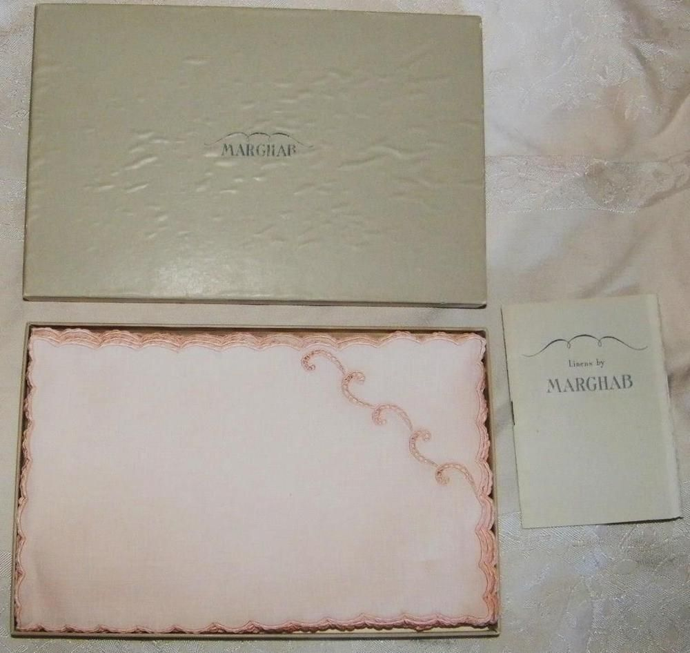 Vintage Pink Marghab 8 Cocktail Napkin Set Embroidered Simplicity Madeira in Box | eBay