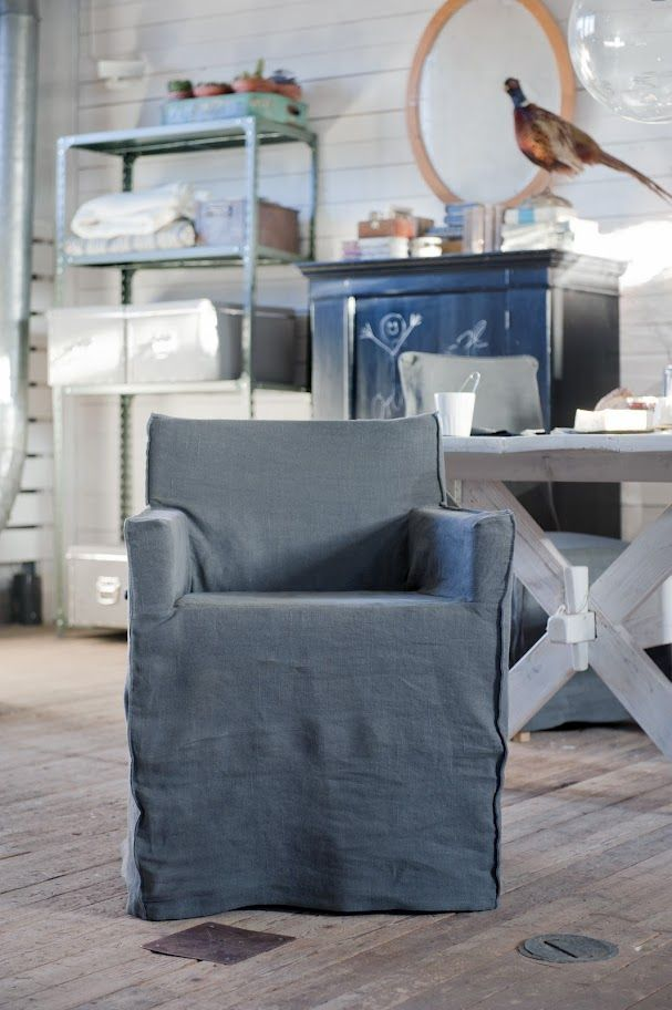 Nils Armchair Cover Loose Fit Urban Linen Dining