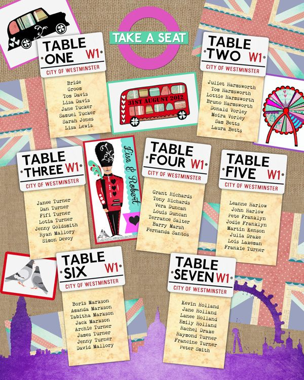 London Town Union Jack Royal Guard Wedding Table Plan or Seating Plan In the Treehouse