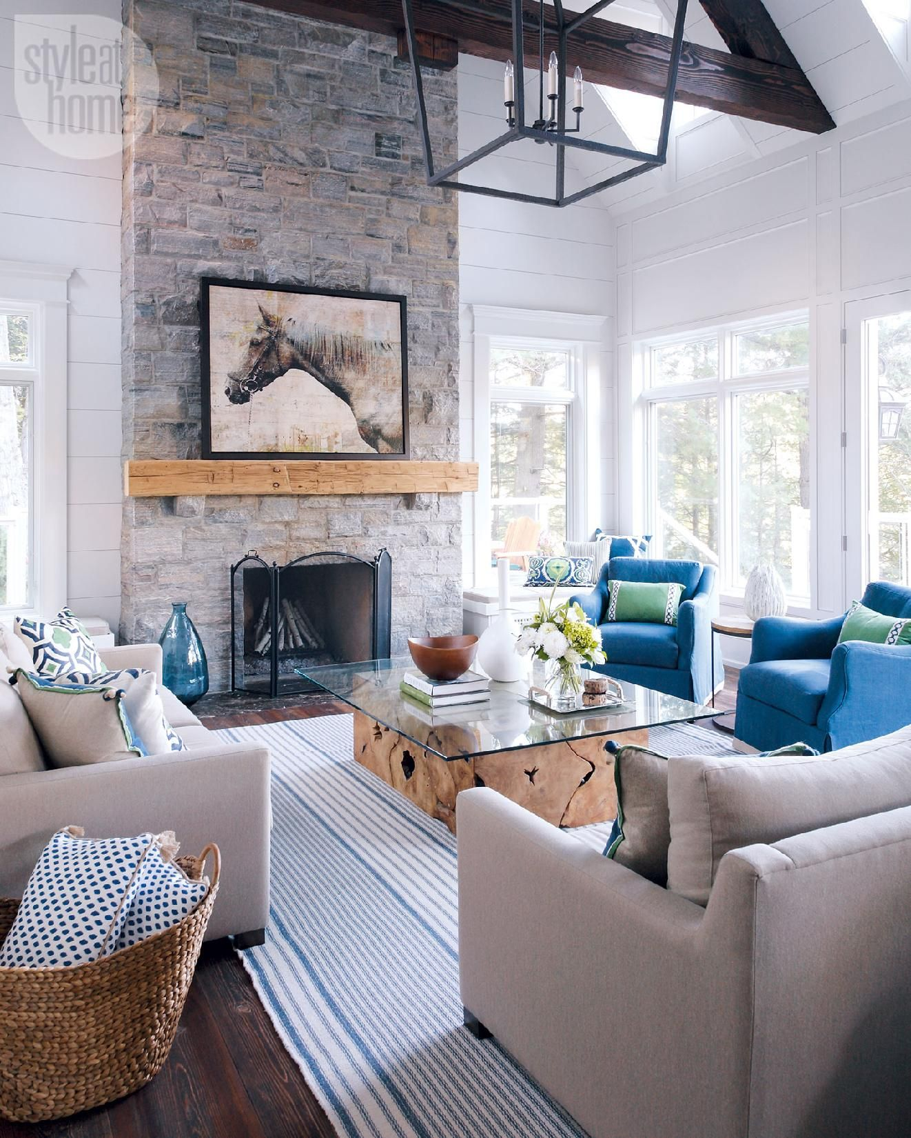 25 stylish summer homes grey stone fireplace wood mantle and