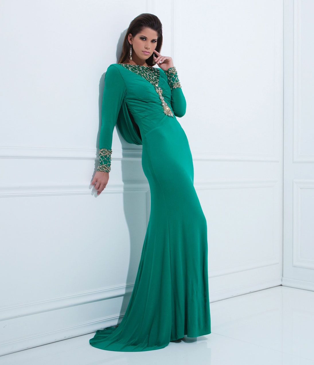 Dresses-Green_Jersey_Mesh_Long_Sleeve_Prom_Gown- | Long Sleeve ...
