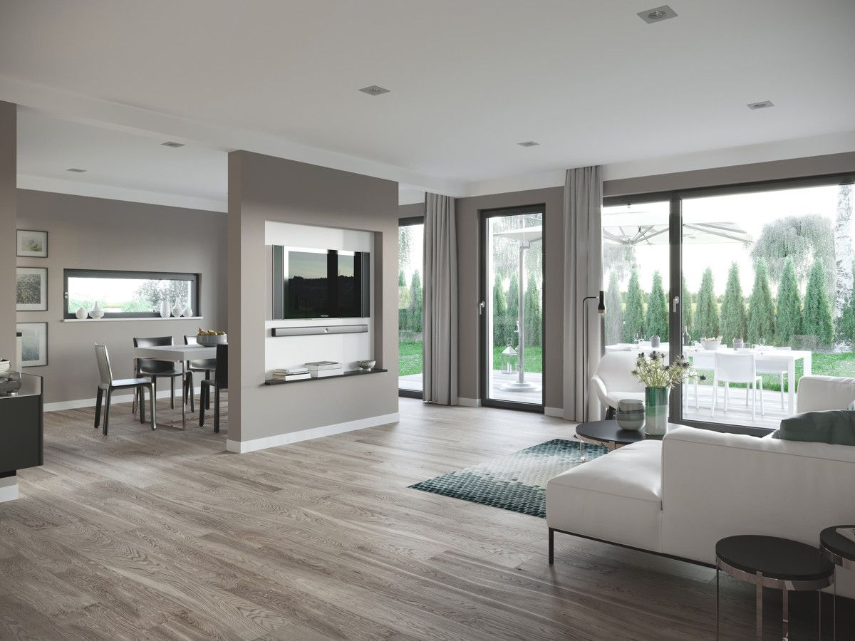 Interior Wohnzimmer grau wei mit Raumteiler zum Esszimmer