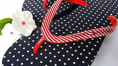Tommy Hilfiger Red White Blue Americana Flip Flops Polka Dots Stripes Size 10 | eBay