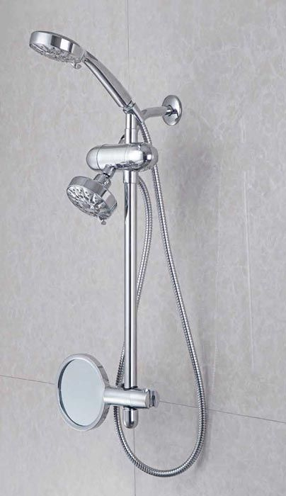 universal filtered shower slide bar with adjustable mirror shown with optional shower head and handshower