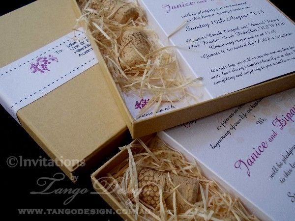 Vineyard Wedding Invitations With Cork And Shaves Wood For
