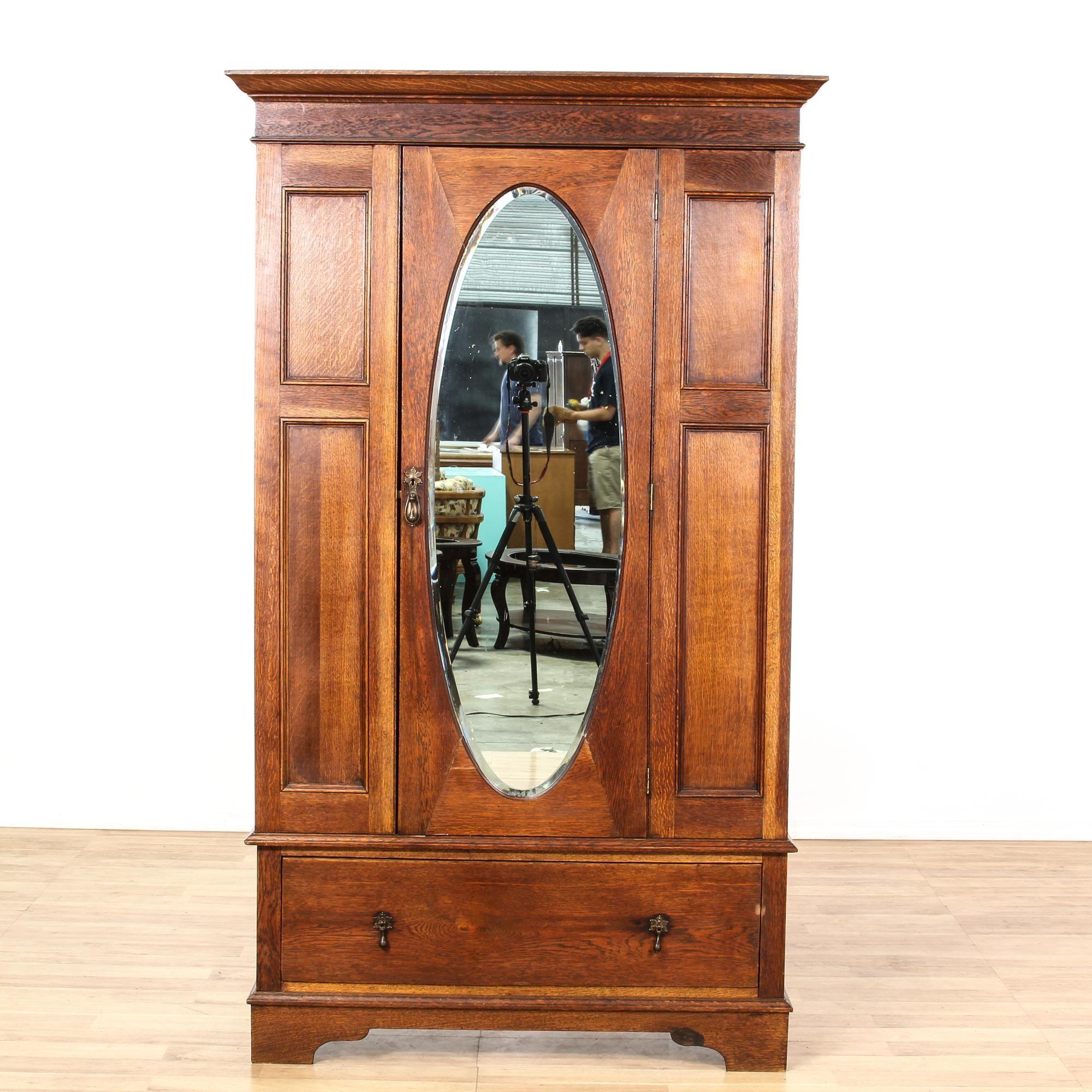 Antique oak mirror front wardrobe armoire shabby chic
