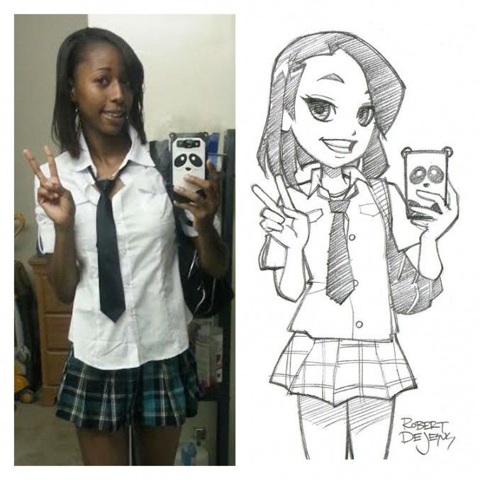 Real People Turned Into Anime Characters Photo To Cartoon Convert Photo To Cartoon Cartoon Drawings