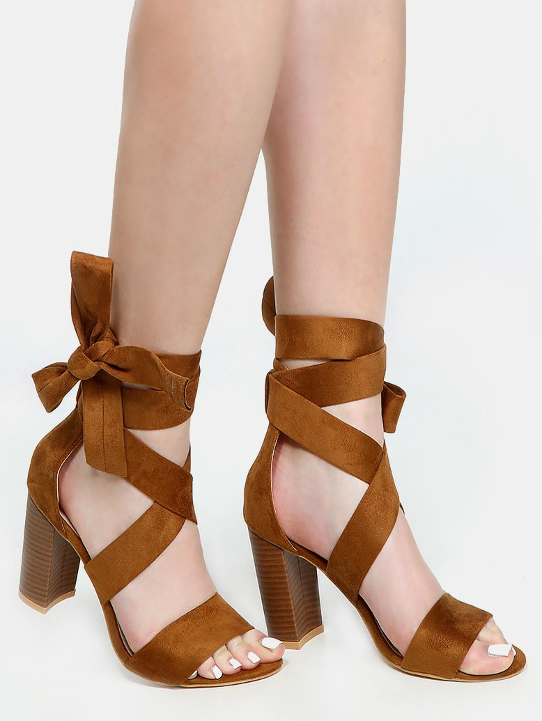 d76b0c00fe56 Thick Strap Lace Up Heels CAMEL