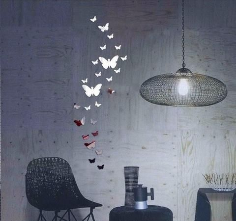 Pcs Butterfly Home Decorations DIY Silver Mirror Wall Sticker - Butterfly wall decals 3d