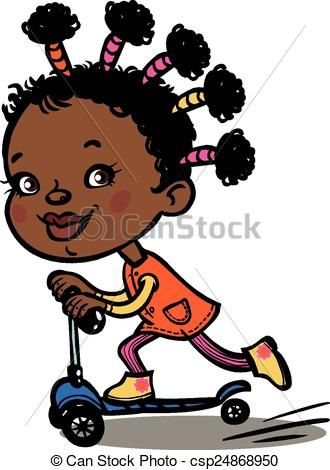 Clipart Vector Of Funny Vector Cartoon Black Girl On Scooter