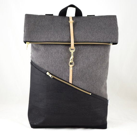Rolltop Backpack Large with Laptop Compartment Cork Black Canvas Dark Grey