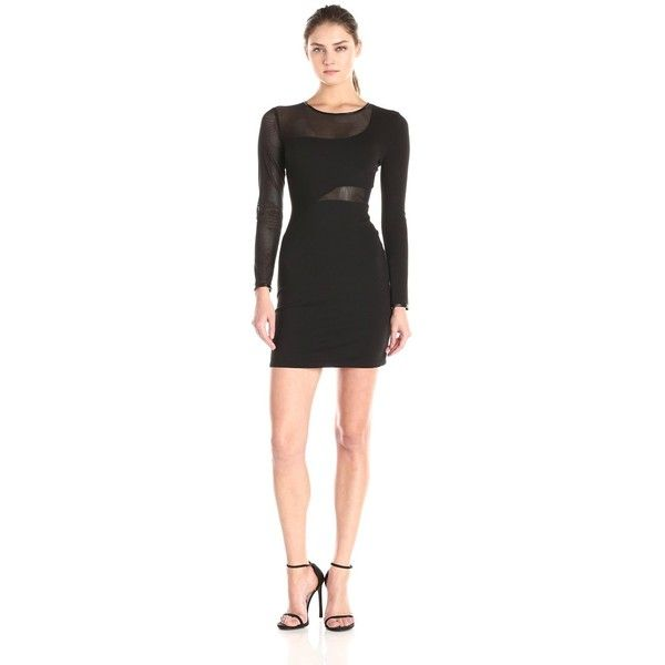Rebecca Minkoff Women's Ponte Long Sleeve Shift Dress ($228) ❤ liked on Polyvore featuring dresses, long sleeve shift dress, mesh panel dress, fitted dresses, rebecca minkoff and long sleeve fitted dress