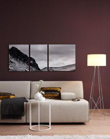 Wandfarben Braun, Beige, Grau und Violett Dunkelbraun für moderne