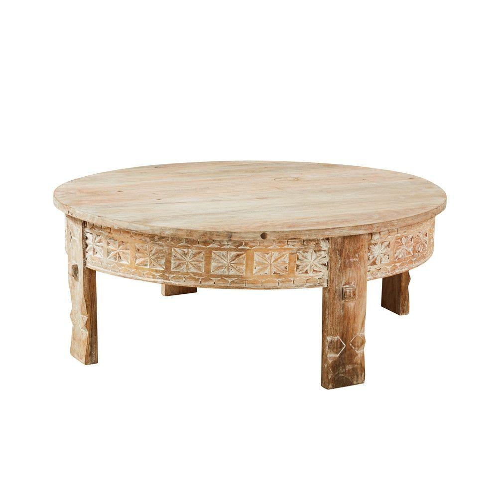 Tavolini Salotto Maison Du Monde.Tavolino Da Salotto Rotondo In Legno Massello Di Mango Scolpito