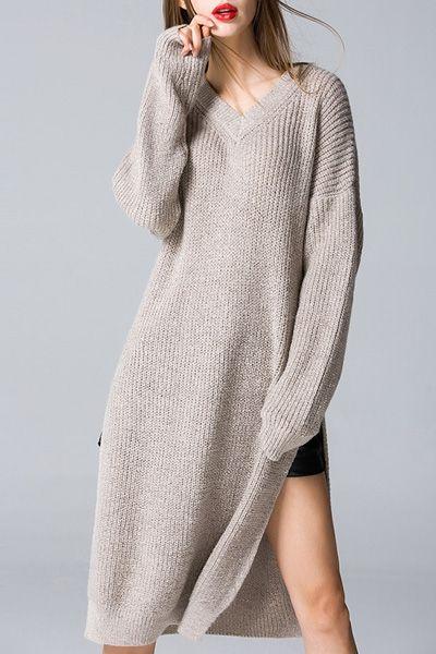 c180f7c009d Side Slit V Neck Sweater Dress