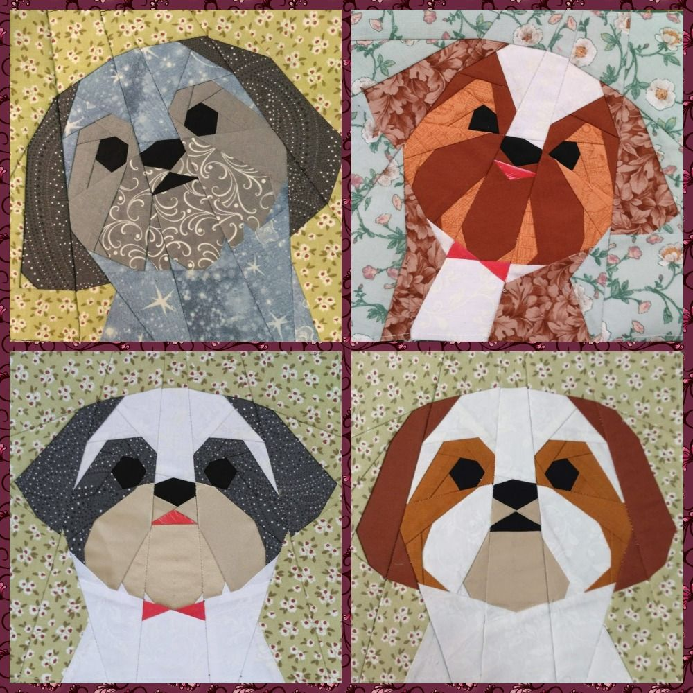 Shih Tzu boy quilt block pattern in 2020 (With images ...